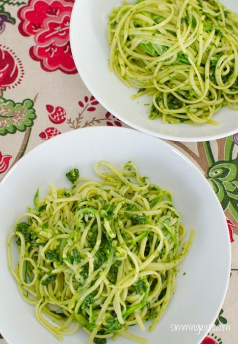 Courgette and Linguine with Arugula, Basil and Spinach Pesto | Slimming Eats - Slimming World Recipes