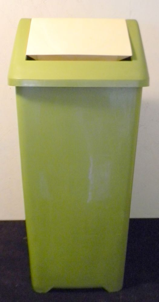 Vintage Plastic Green Box Flip Trash Garbage Can Kitchen Tall 28