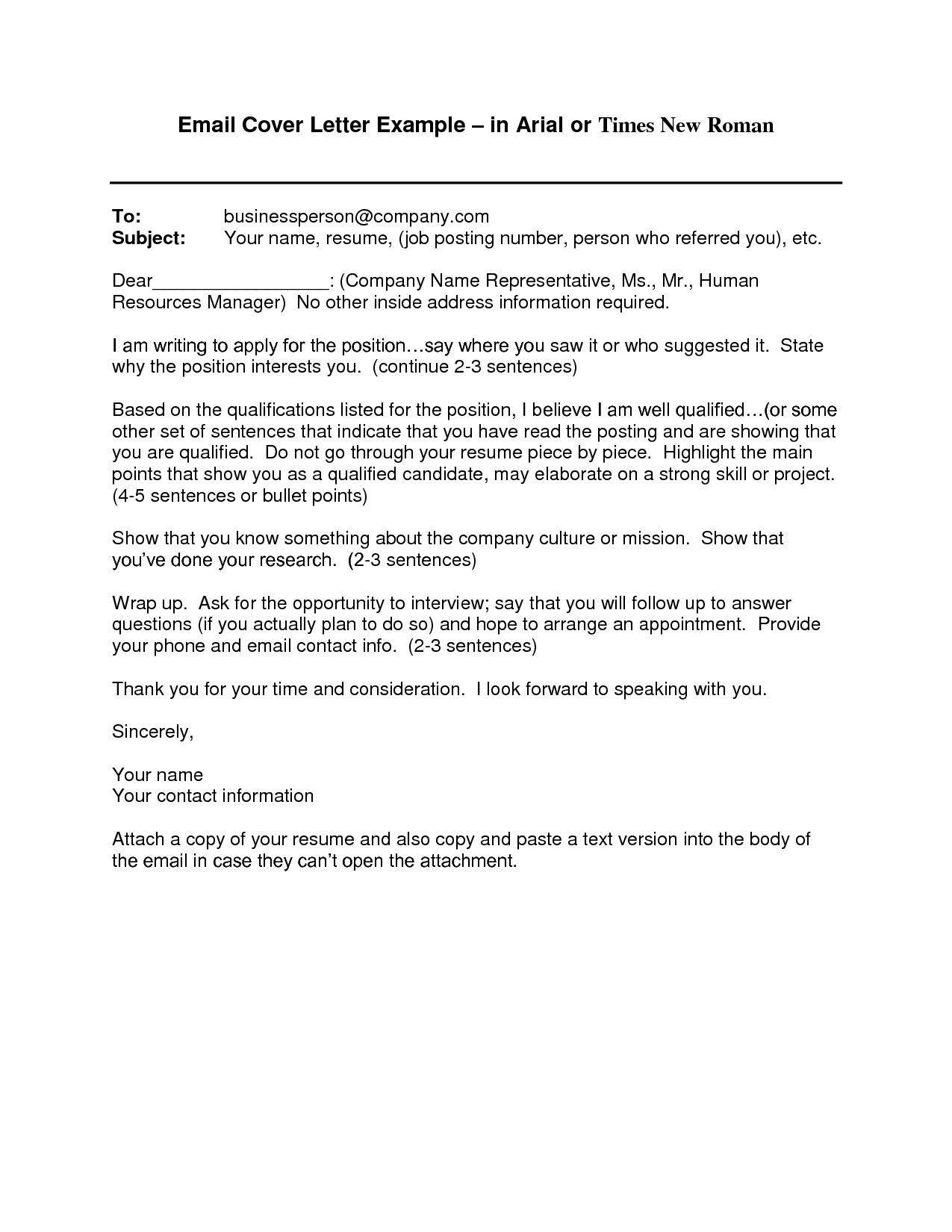 Email Cover Letter Template | Employment | Cover letter ...