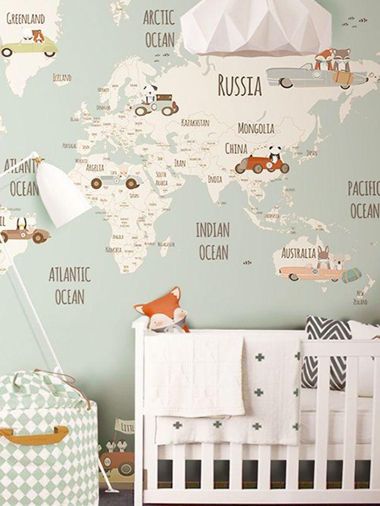 TOP TEN Top Ten Kids Rooms And Nursery - Map of the world wallpaper for kids