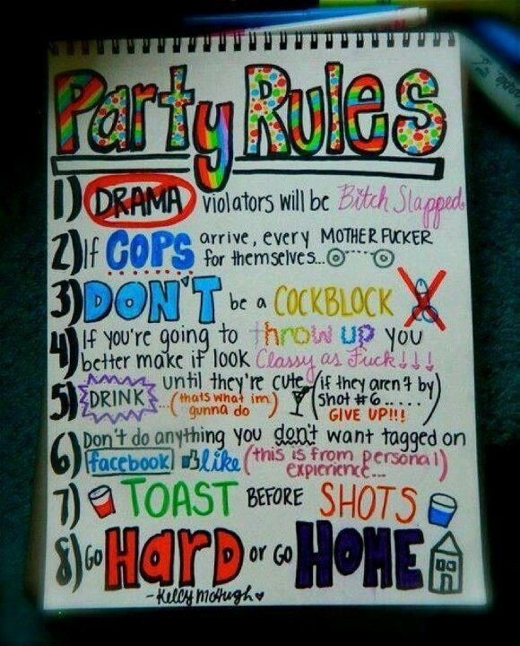 Haha College Party Rules Truth Popular In 2019 Party Rules