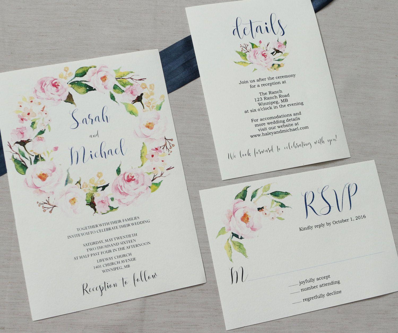 Navy Elegant Wedding Invitation, Floral Wedding Invitation, Modern ...