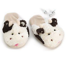 18199a770d8cb Plush Cow Slippers Adult Size Brown and White Moo! Burton…