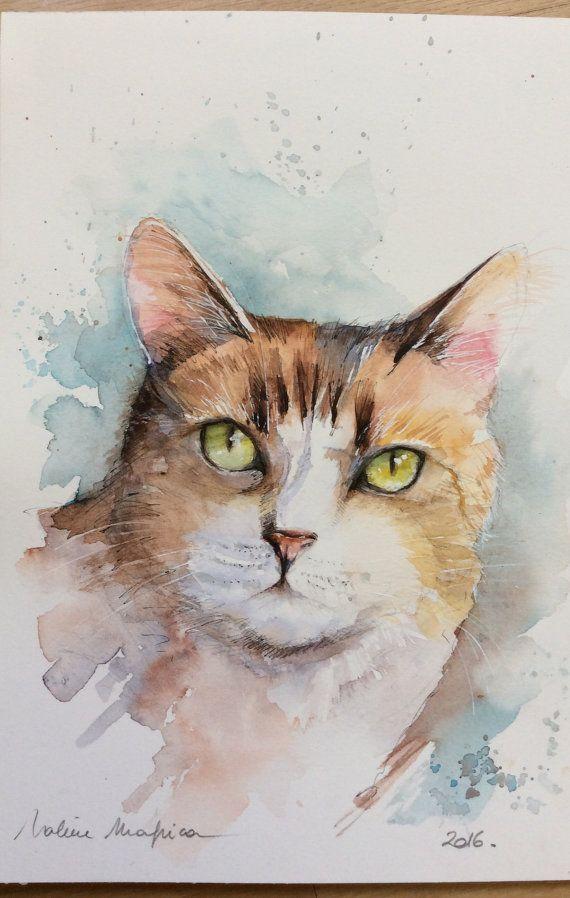 Aquarelle Originale Livraison Gratuite Le Chat Tabby Felin