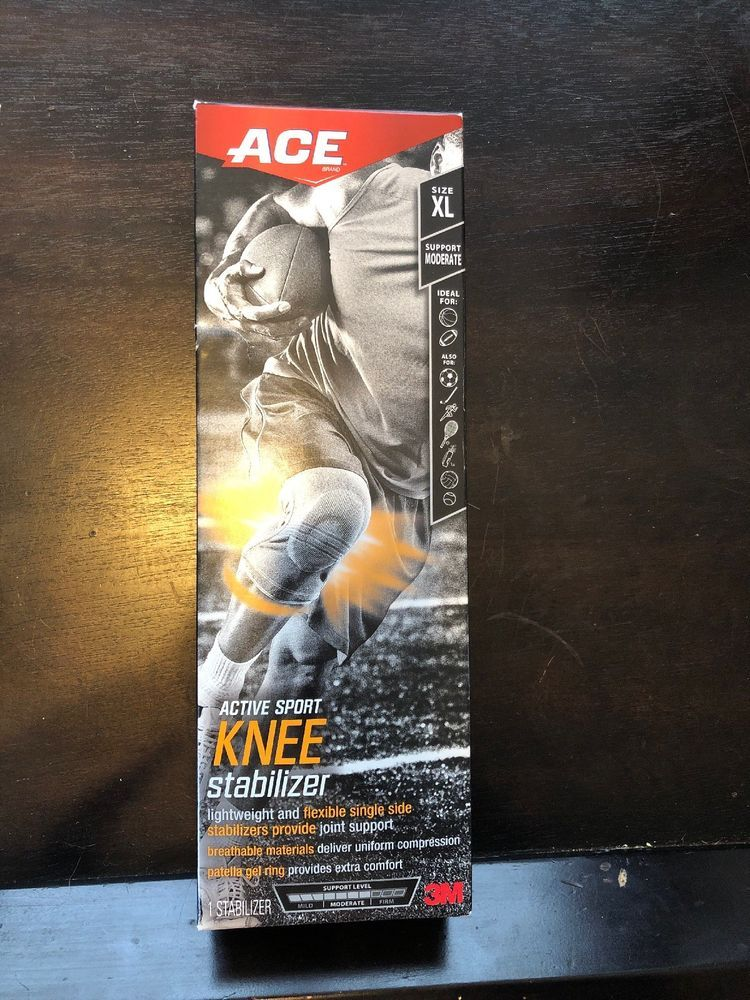 Ace Knitted Knee Brace With 1 Side Stabilizers X Large Grey New In Box Moderate Ebay With Images Knee Brace Sides Knee