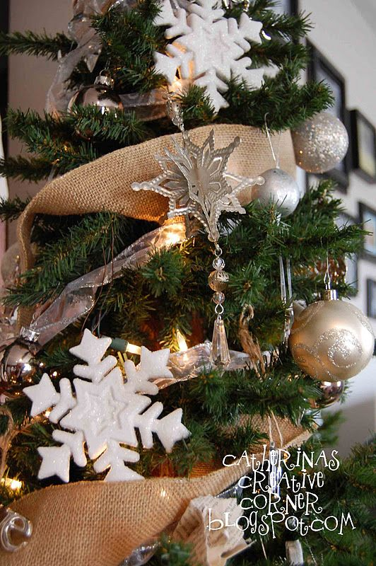 Vintage Burlap and White Christmas Tree