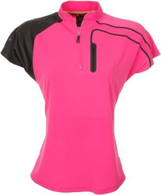Hot pink and black, terrific combination in a woman's golf shirt ...