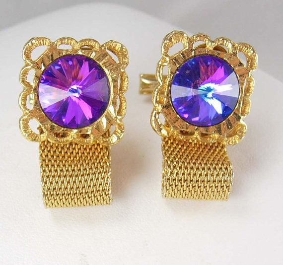 Vintage gold mesh and iridescent prism cuff links