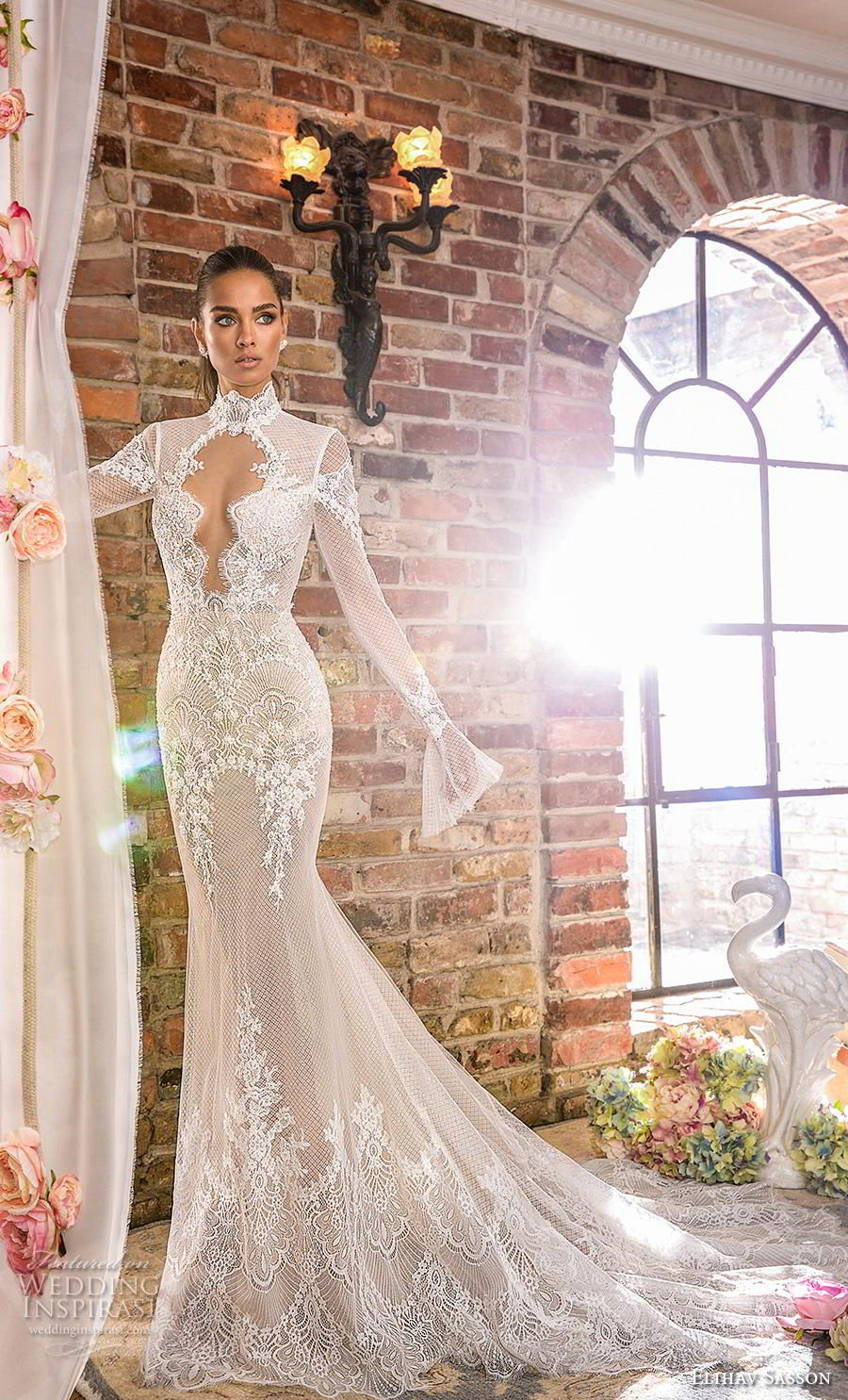 a0cfc336ee elihav sasson 2019 bridal long poet sleeves high neck keyhole bodice full  embellishment elegant fit and flare wedding dress keyhole back chapel train  (6) mv ...