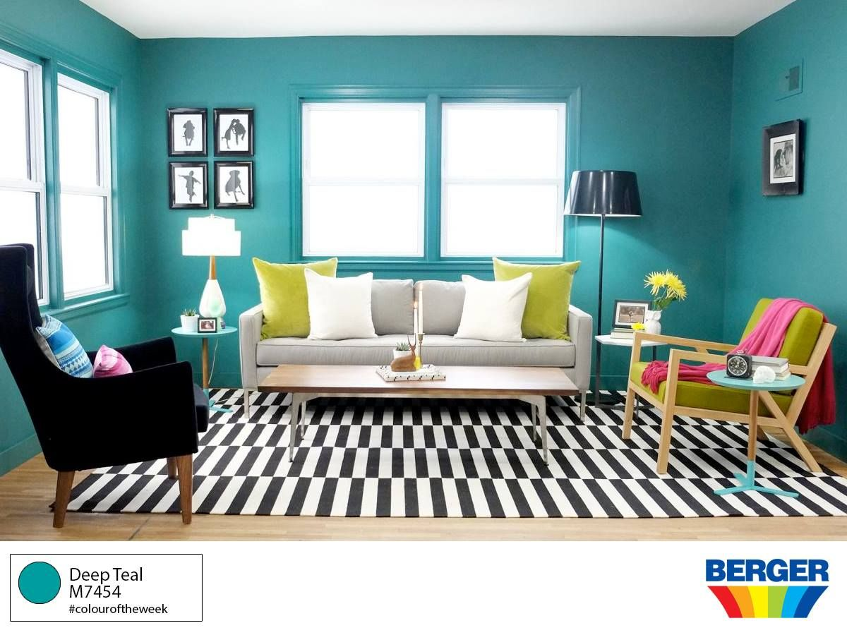 Invite The Colours Of Nature Inside With Deep Teal M7454 From The Bergerpaintscaribbean Teal Living Rooms Teal Living Room Colors Black And White Living Room #teal #color #living #room