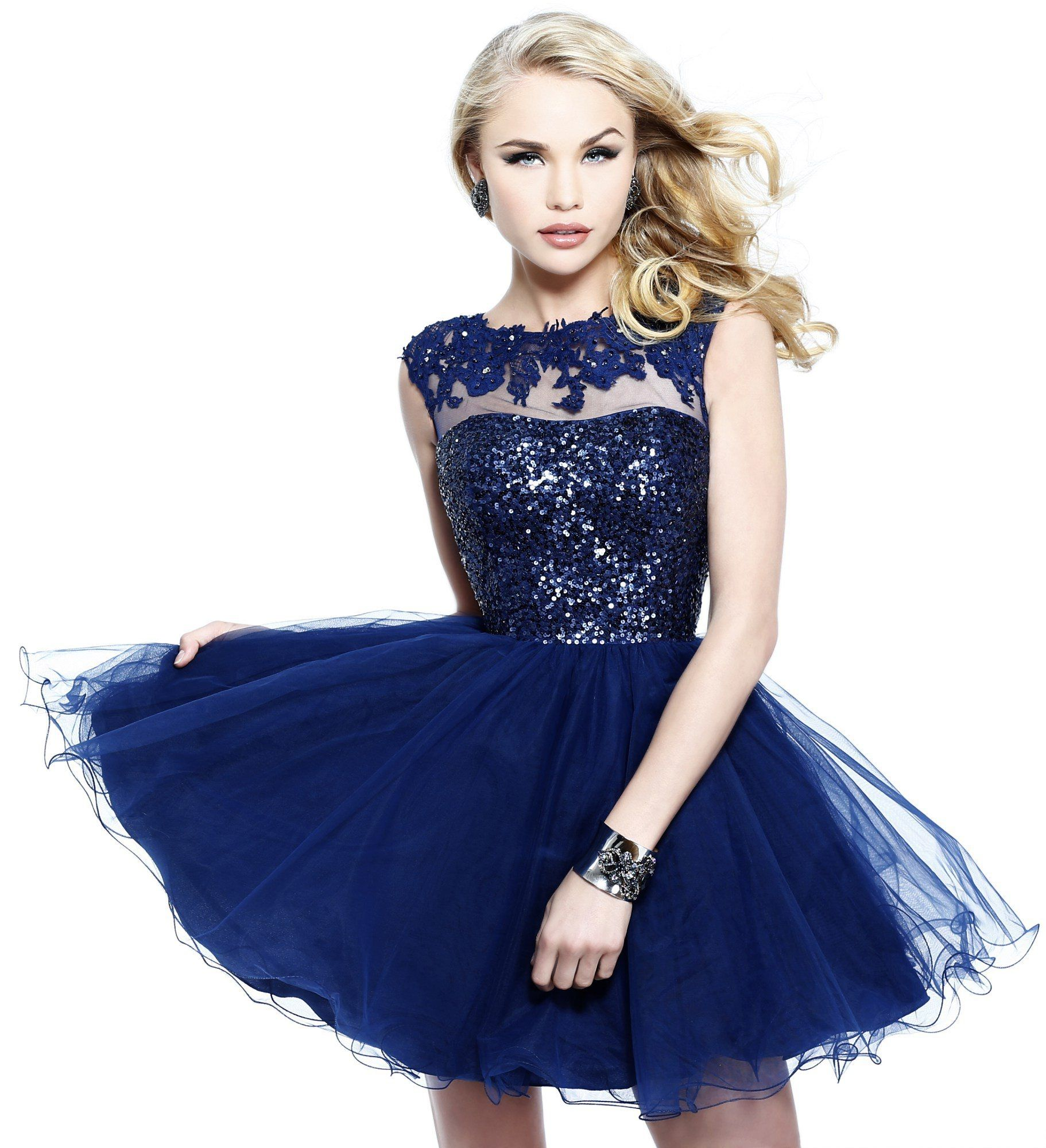 High Neck Tulle Sequin Applique Dark Blue Prom Dress | Fashion ...