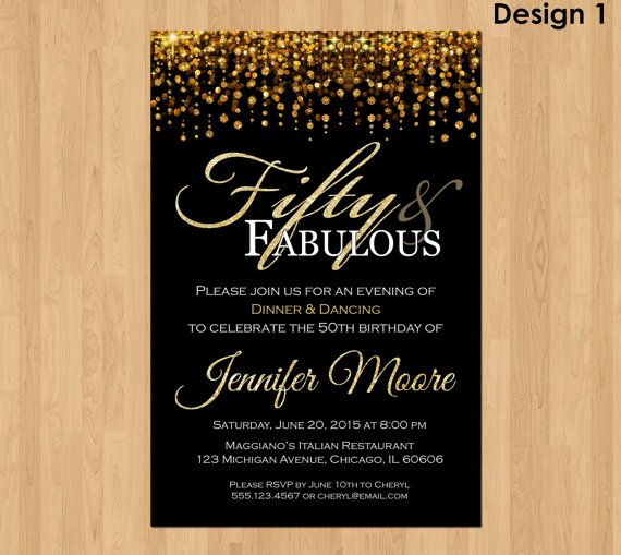 50th Birthday Invitation For Women 50 And Fabulous Invitations 5 Milestone Birthday Invitations 50th Birthday Invitations Birthday Party Invitation Templates