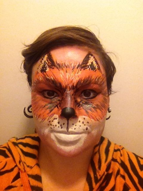 Fox face paint (in a tiger onesie)  sc 1 st  Pinterest : fox face costume  - Germanpascual.Com