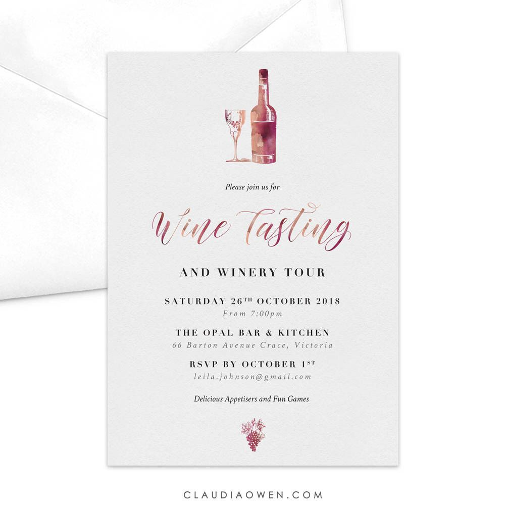 Wine Tasting Party Invitation / Wine and Dine Party Invitation ...