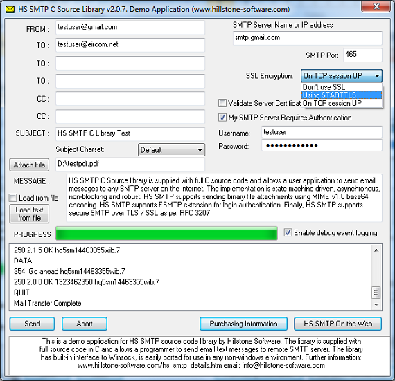HS SMTP is a software library in C (supplied with full