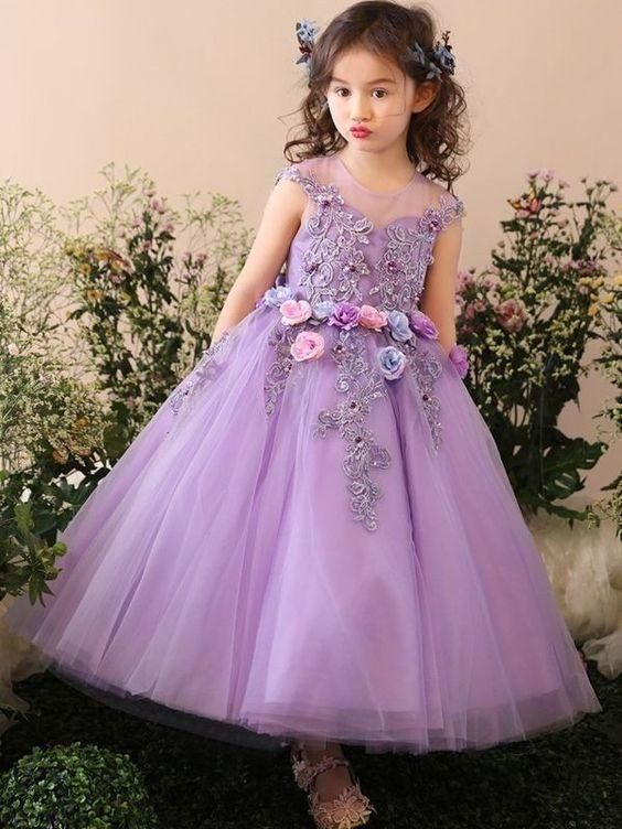 new high quality good quality another chance Cute Handmade A Line Applique Tulle Long Flower Girl Dresses ...