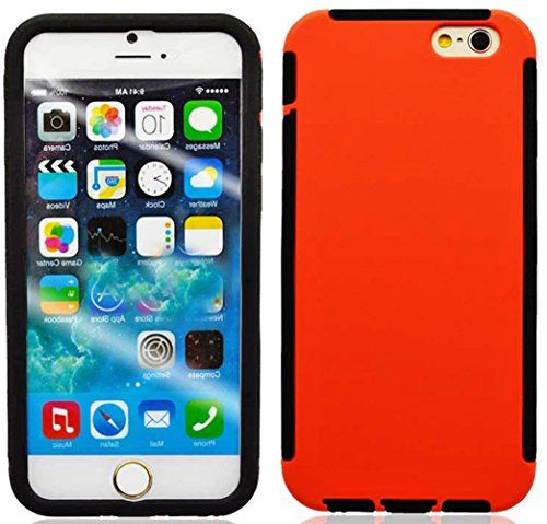 """myLife Pumpkin Orange + Licorice Black {Built in Screen Protector Design} 2 Layer Hybrid Case for the NEW iPhone 6 (6G) 6th Generation Phone by Apple, 4.7"""" Screen Version (Single External Fitted Hard Protector Shell + Full Body Internal Silicone EASY-Grip Bumper Gel Protection) myLife Brand Products http://www.amazon.com/dp/B00NJ32LUM/ref=cm_sw_r_pi_dp_Hlfpub085MSMM"""