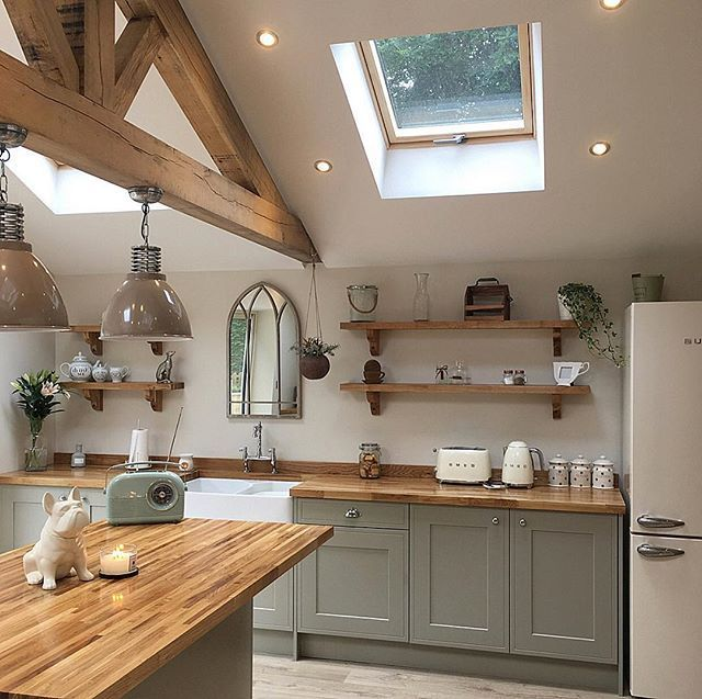 I will never tire of seeing this gorgeous modern country style kitchen on my fee... - Wohnen