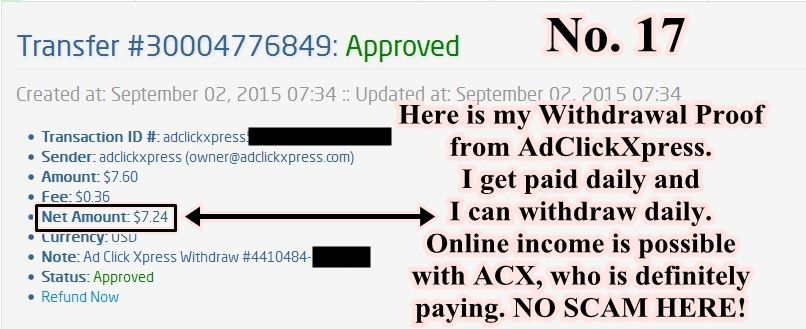 My withdrawal proof No. 17  WORK FROM HOME is so fun with AdClick Xpress. This is my withdraw from  ACX I recieved. I'm so happy to get it and that I can prove that it's NO SCAM. I  love making money online with ACX sitting in front of computer and helping others  do the same. If you are a PASSIVE INCOME SEEKER, then AdClick Xpress (Ad  Click Xpress) is the best ONLINE OPPORTUNITY for you.  Join me today!  http://www.adclickxpress.com/?r=Shajta&p=mx