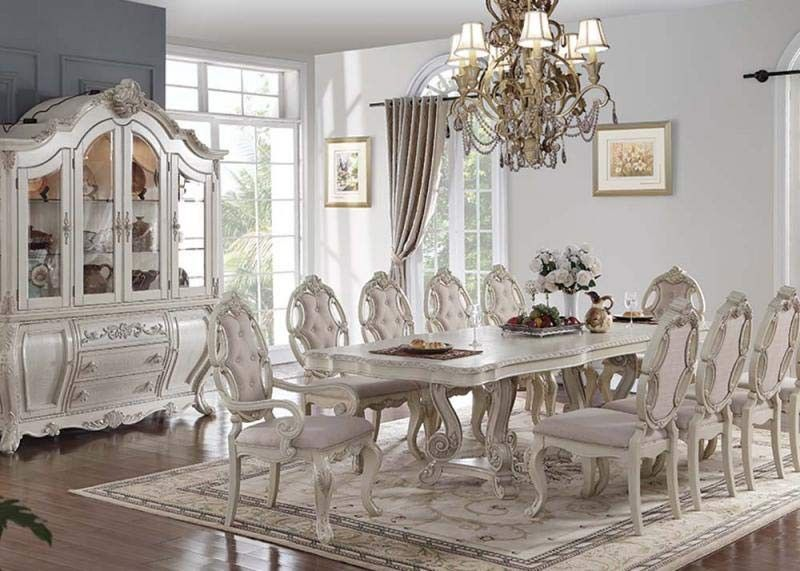 Acme Furniture Ragenardus 10 Piece Dining Room Set 61280 10set Antique Dining Rooms Dining Room Furniture Sets White Dining Room Sets