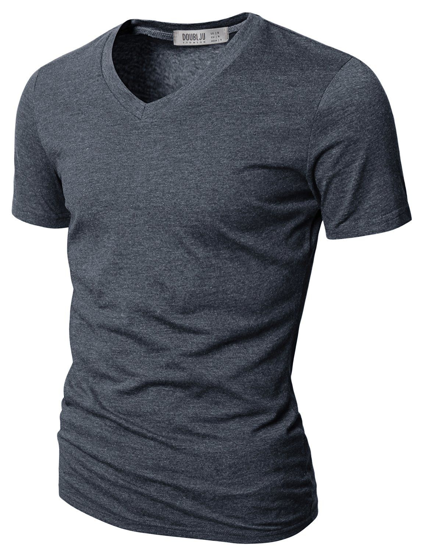 Doublju Mens V-Neck T-shirts with Short Sleeve CHARCOAL (US-XS)