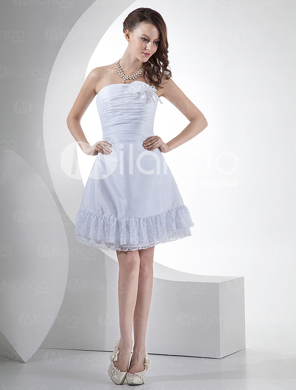 Mini white wedding dress  Romantic Strapless Ruffles Taffeta Mini Wedding Dress  Milanoo