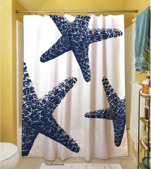Nautical Starfish Shower Curtain Seaside Cottage Beach Bathroom Decor Window New Specialdesign Nautical Beach Bathroom Decor Beach Bathrooms Bathroom Decor