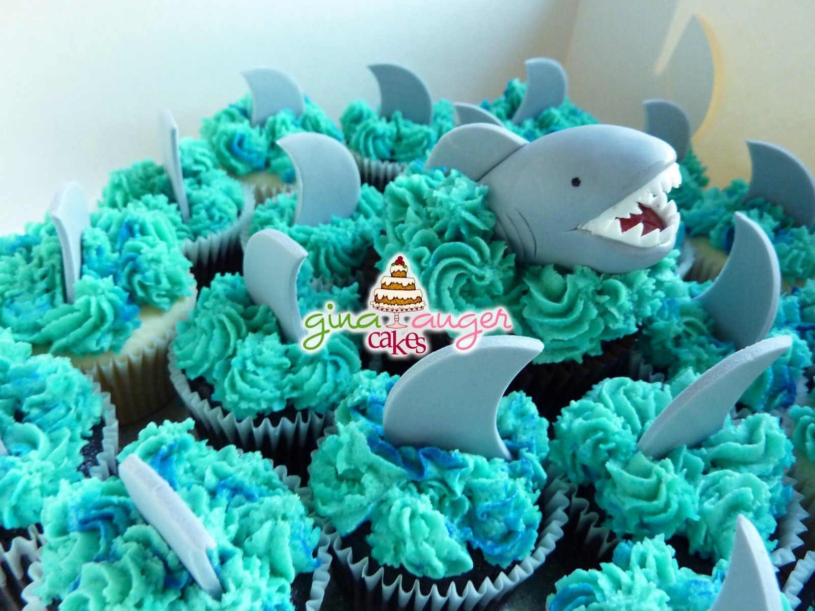 Shark+Cake+Ideas | No Swimming!' Shark Cupcakes