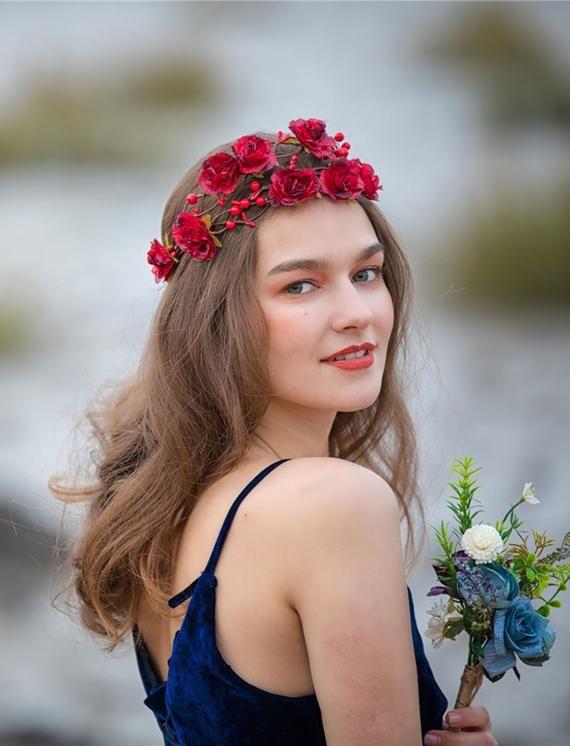 Burgundy Flower Crown Flower Girl Crown Red Flower Crown Flower