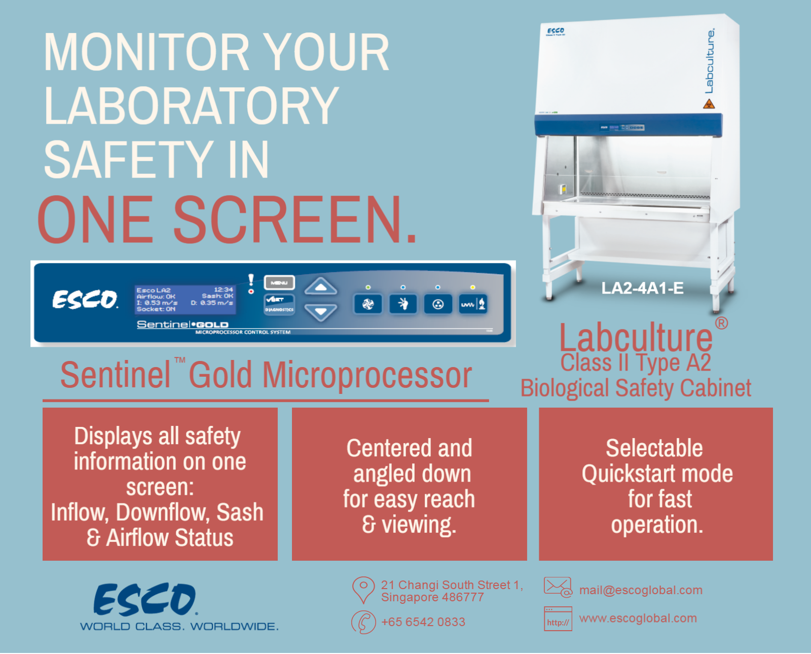 Esco Biological Safety Cabinets are equipped with Sentinel ™ Gold