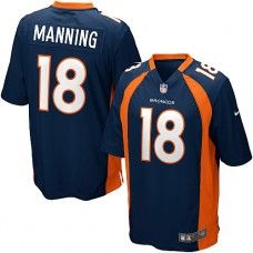 2f67bc6ed9a Nike Elite Youth Denver Broncos  18 Peyton Manning Alternate Dark Blue NFL  Jersey