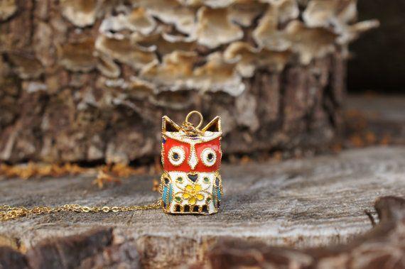 Cloisonne Enamel figural Owl Necklace