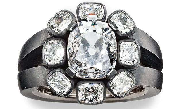Hemmerle ring | diamonds - black finished silver - white gold