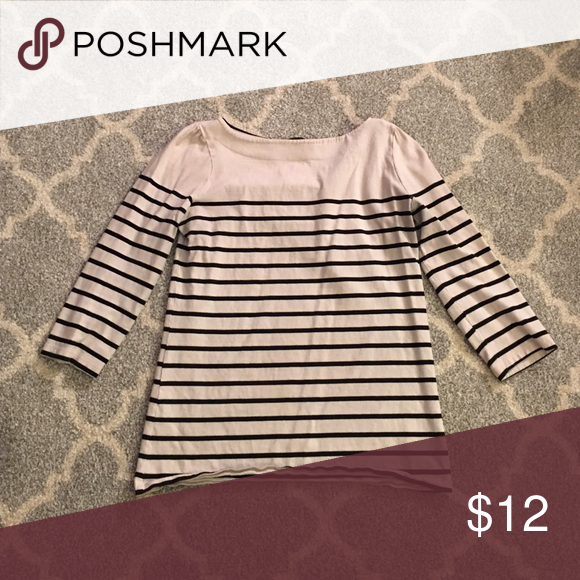 Striped shirt Cream with black stripes - 3/4 sleeves Carole Little Tops Blouses