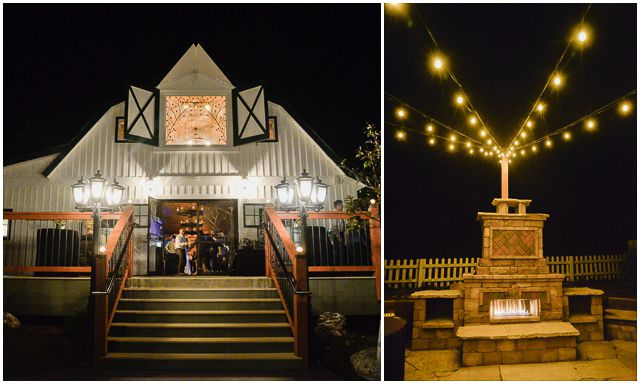Barn wedding at Deer Creek Valley Ranch in Bailey, Colorado. Nothing better than a cozy barn and a roaring fireplace with market lights for this fall wedding! Photos by Elevate Photography.