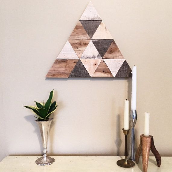 Reclaimed Wood Triangle Art Made in KC MO USA by AxelCo on Etsy