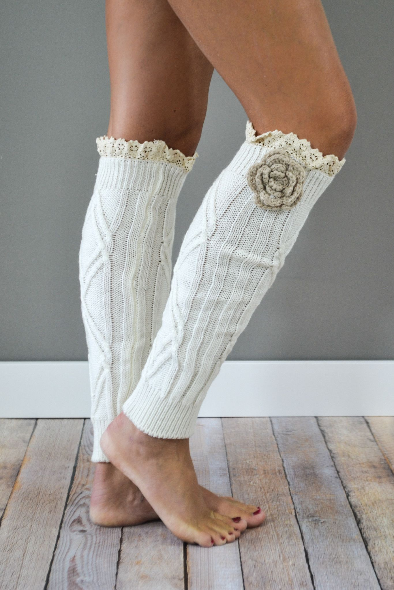 Cream Knitted Leg Warmers with Flower