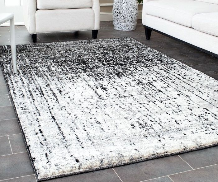 Contemporary Area Rug Hand Woven Black Grey Living Room
