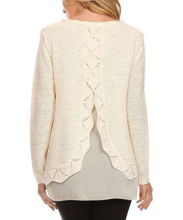 43dde0f679e Loving this Ivory Layered Split-Back Sweater on  zulily!  zulilyfinds