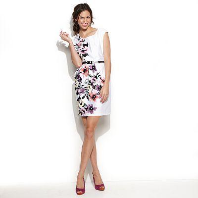 corey p Floral Pleated Sheath Dress