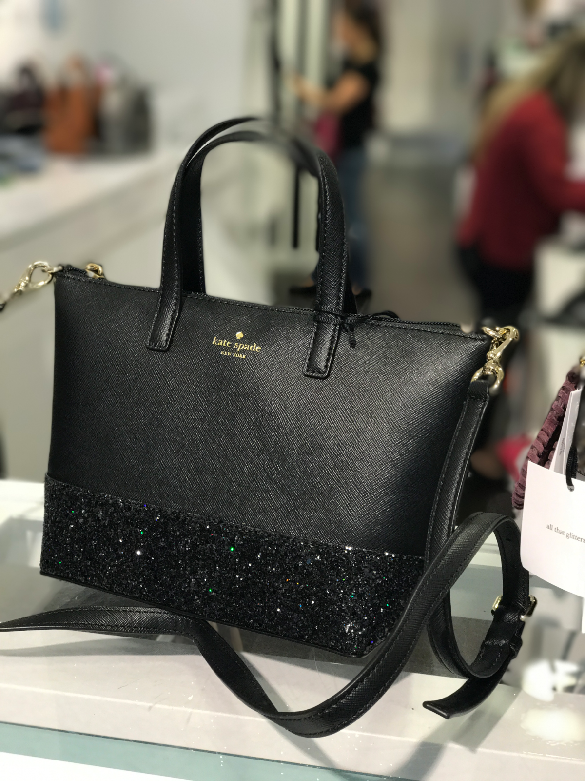 b9dd996db2a3 Details about NWT Kate Spade Greta Court Ina Black Glitter Crossbody ...