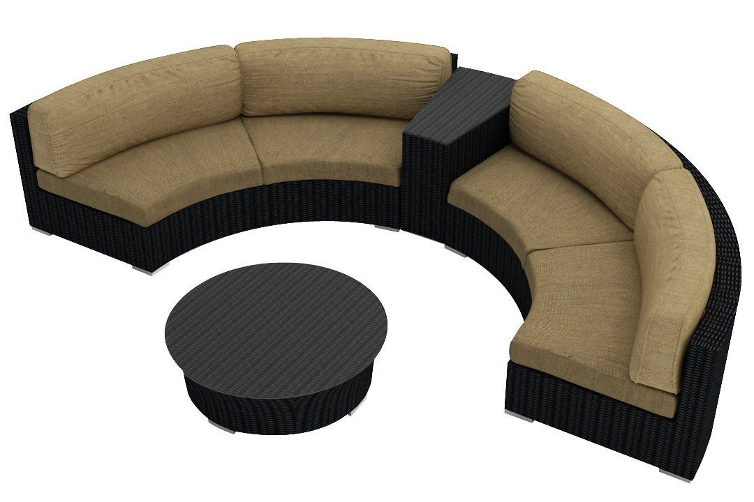 Best Amazon Com Harmonia Living Urbana Eclipse 4 Piece Modern Outdoor Wicker Sectional Sofa Set 400 x 300