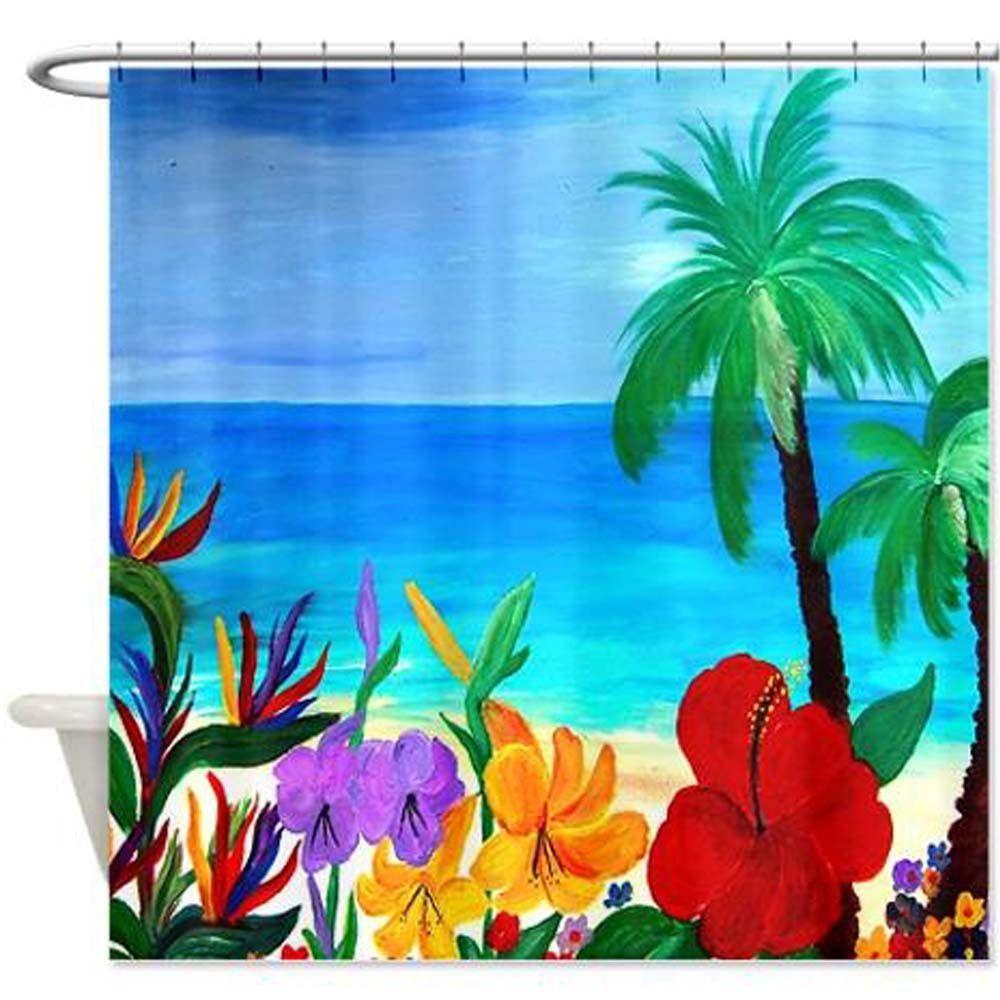 Tropical Beach Palm Tree Beach Art Shower Curtain Size 70 X 70