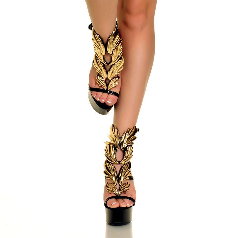 The Highest Heel Amber-721 Black Patent Platform High Heel Sandal with Metal Ornament