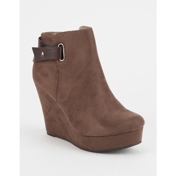 4741c4d93ab Soda Back Strap Womens Wedge Booties ($15) ❤ liked on Polyvore ...