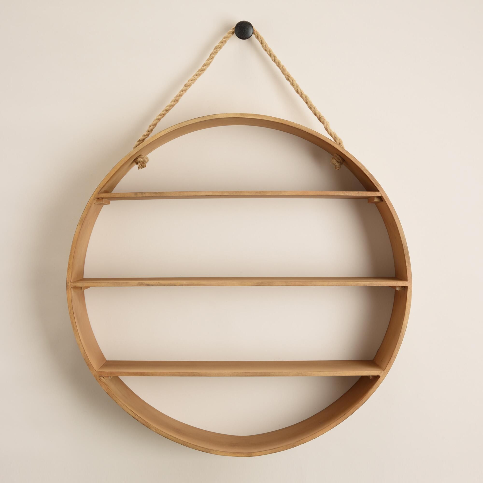 Natural round wood wall shelf wall storage wooden walls and jute natural round wood wall shelf amipublicfo Images