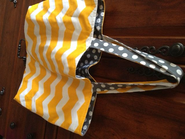 Large tote bag  yellow and white chevron by TheSweetBBoutique, $40.00