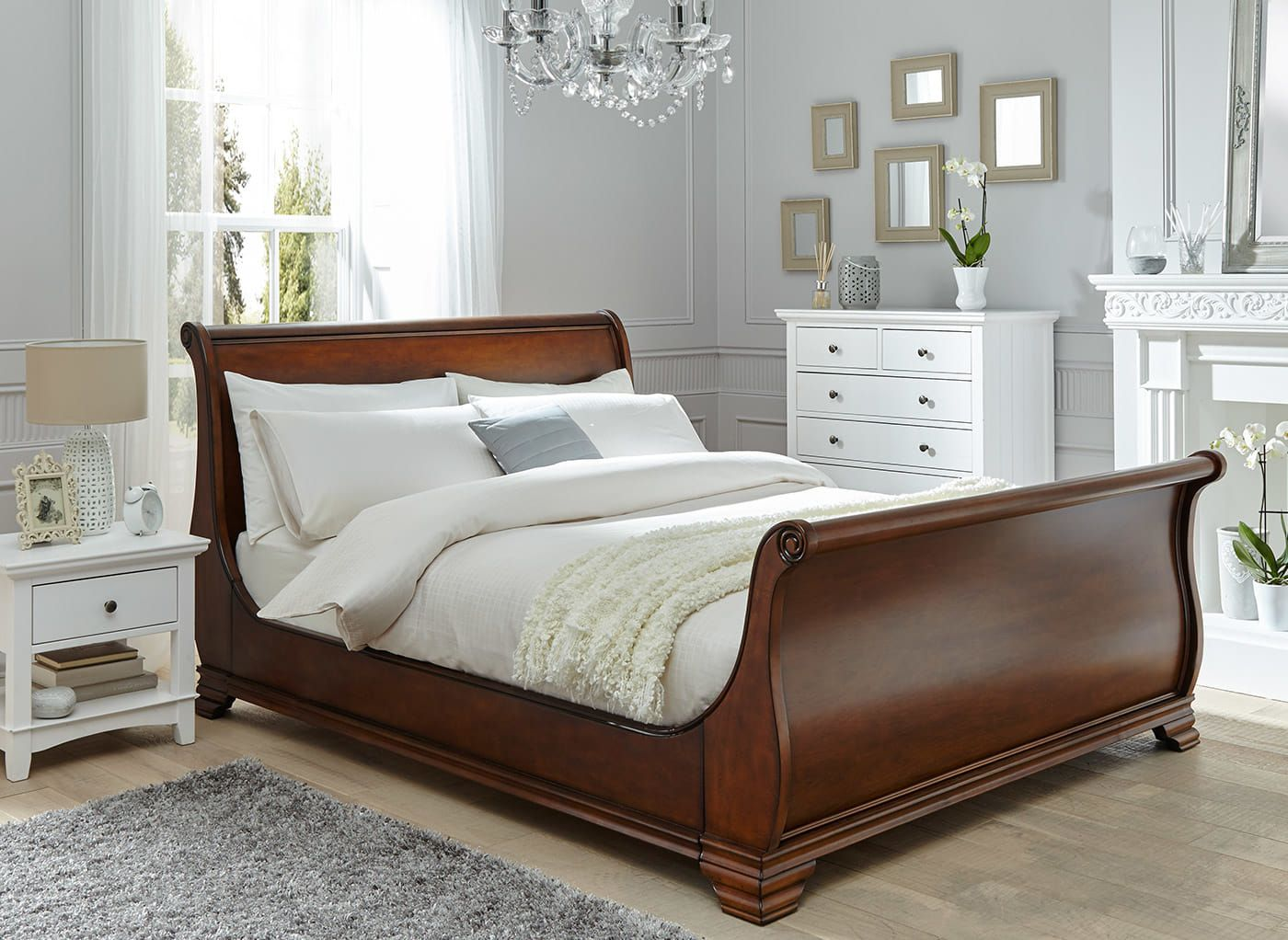 orleans walnut wooden bed frame