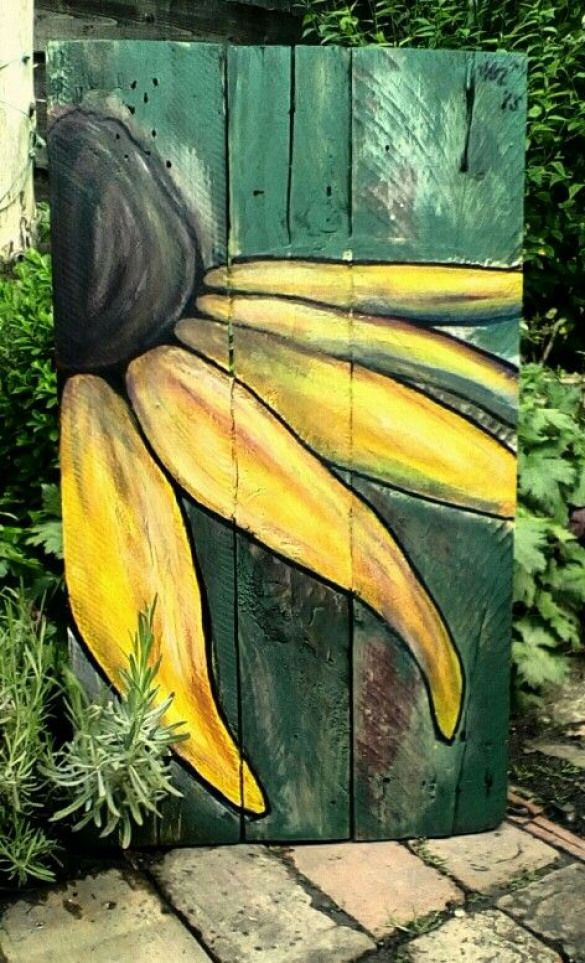 Rudbekia by little Hols painted on reclaimed wood outdoorwood is part of Pallet painting -
