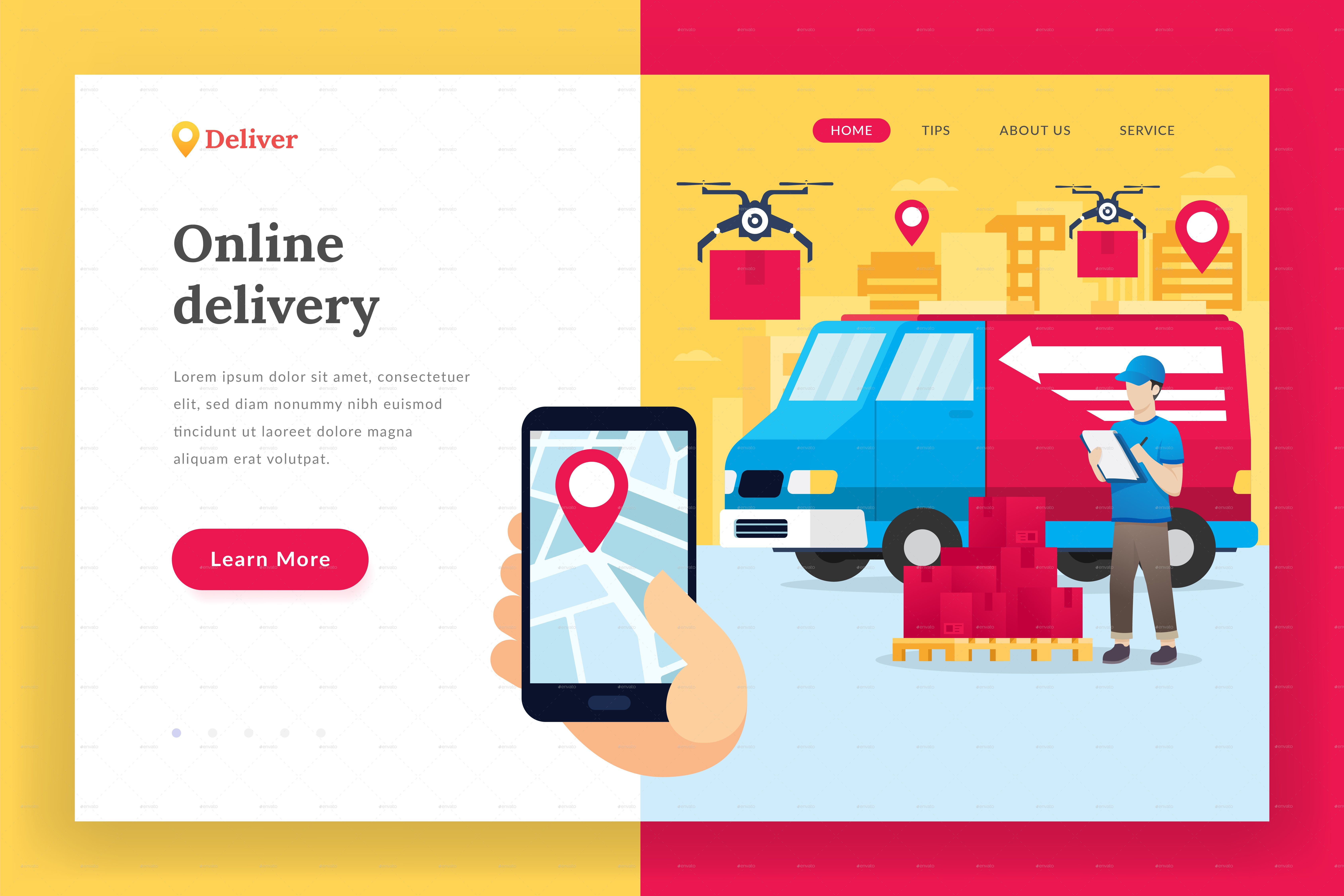 Online delivery service landing page ad delivery